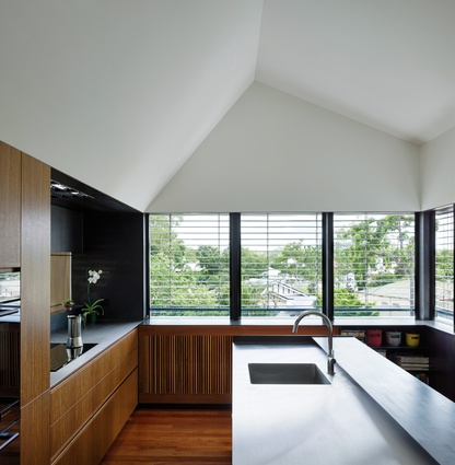 The kitchen, one of two new rooms in the Herston Residence, is well positioned to the north for ample daylight and views.