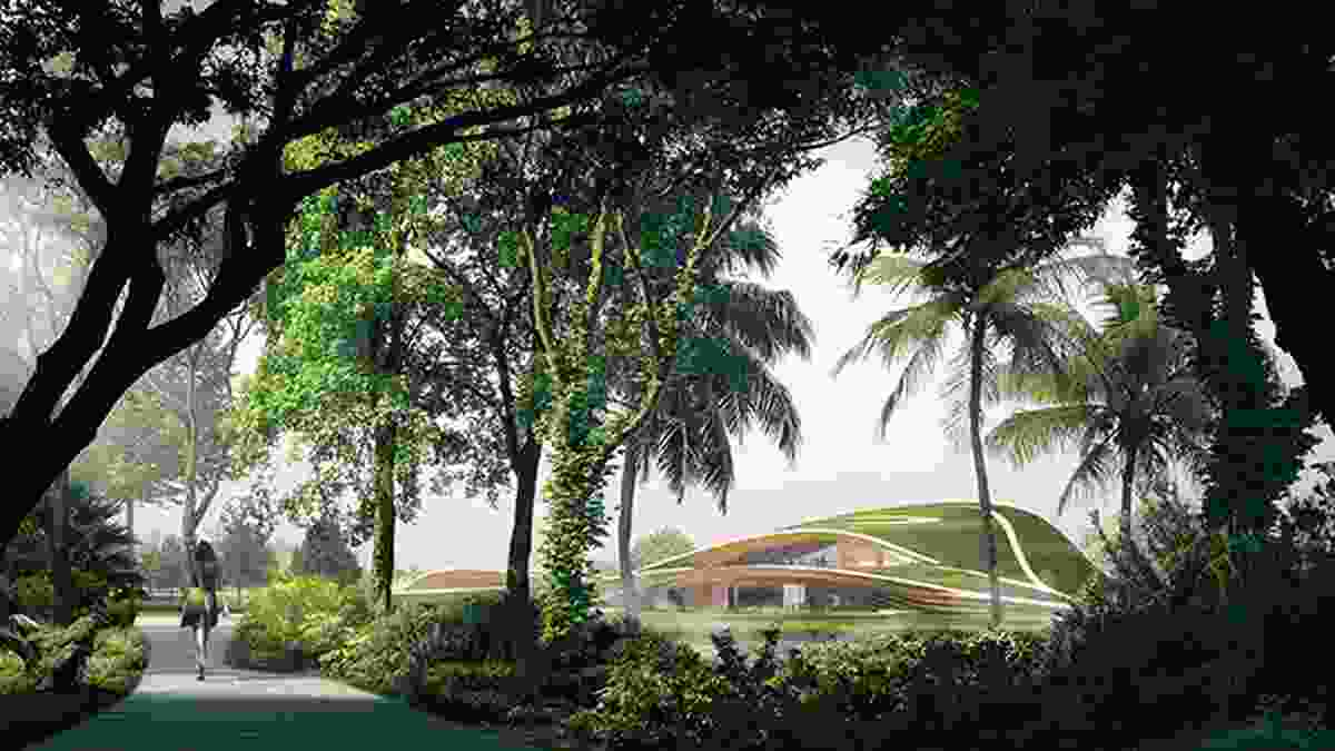 A forest trail in the winning proposal for Singapore Founders Memorial by Kengo Kuma and Associates and K2LD Architects.