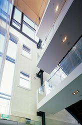 Detail view of the foyer with its layered planes and contrasting elements and structures.