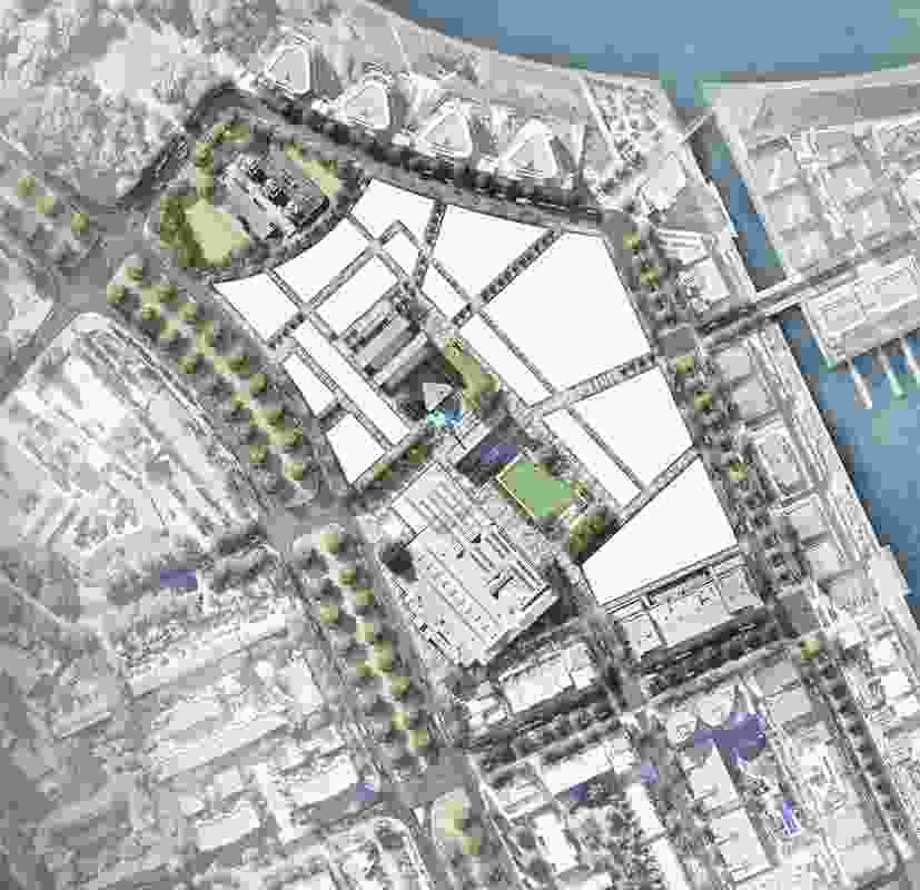 A site plan of the proposed Kingston Arts Precinct by Fender Katsalidis and Oculus.
