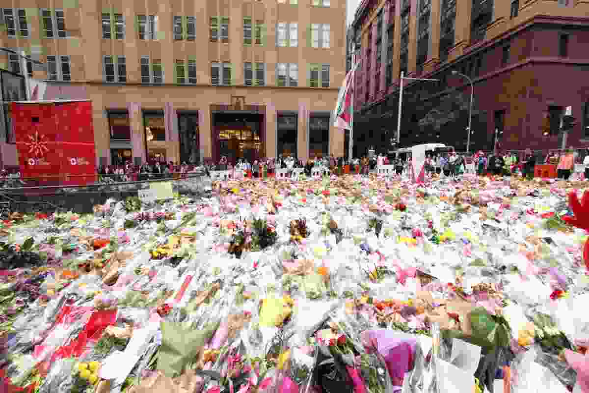 Following the 2014 incident, members of the public left flowers in Martin Place.