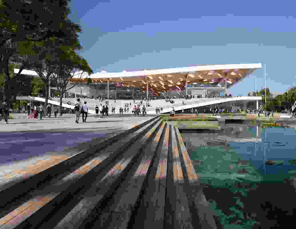 The eastern entrance of the proposed new Sydney Fish Market by 3XN, BVN and Aspect Studios.