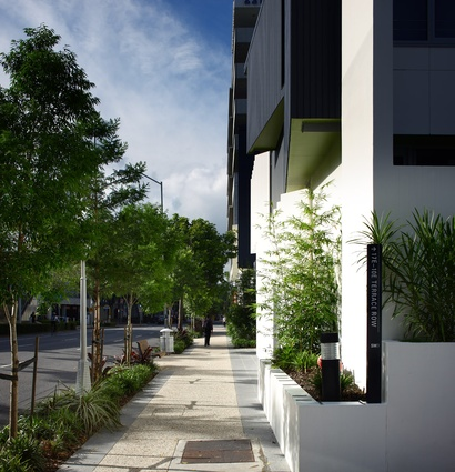 Planted build-outs, awnings, and plantings applied to the variety of open and permeable frontages soften and humanise the pedestrian experience.