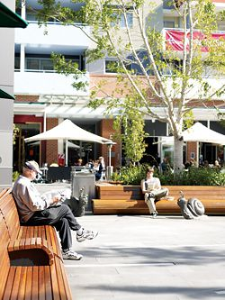 Rouse Hill town square looking west towards the Rise Apartments.