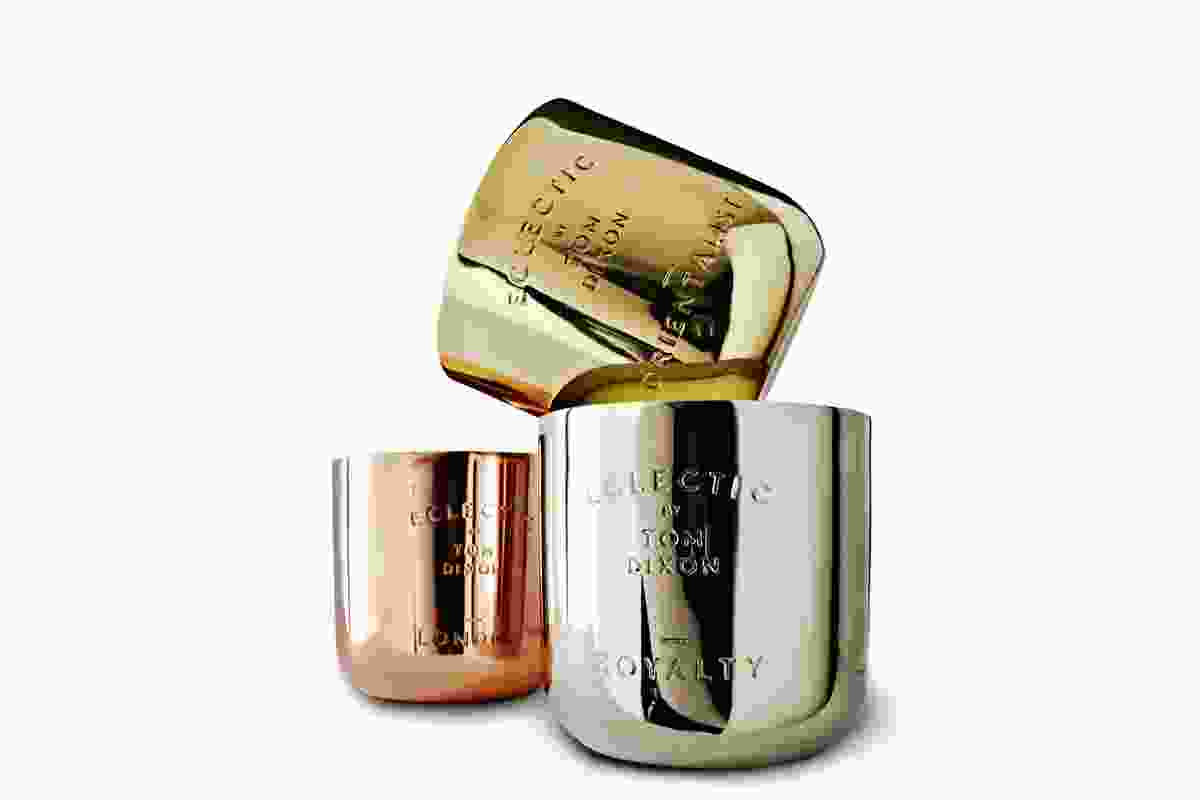 Scent Candle series in three scents in nickel, brass or copper pots with a marble lid.