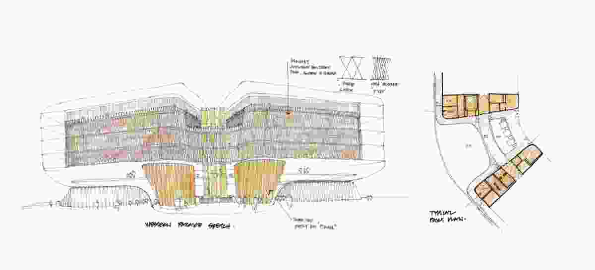 SAHMRI Early western facade sketch.