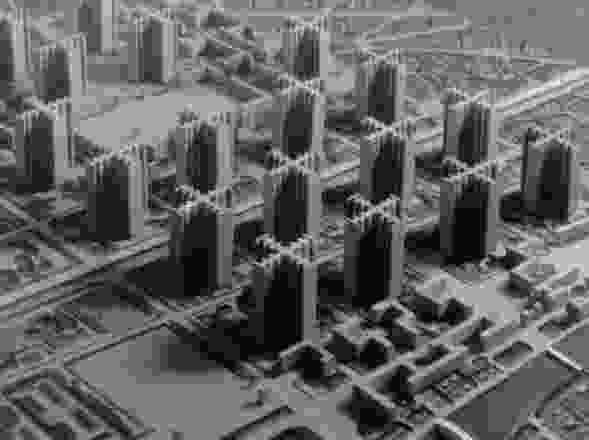 这个1925年的模型,Plan Voisin,展示了柯布西耶对未来有序城市的愿景。