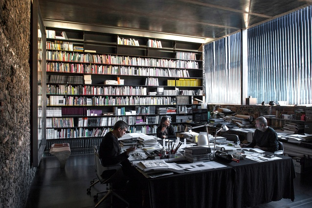 Rafael Aranda, Carme Pigem and Ramon Vilalta of RCR Arquitectes in their office Barberí Laboratory in Olot, Spain, completed in 2008.