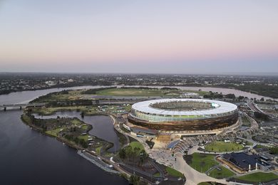 Optus Stadium by Hassell, Cox, HKS, Multiplex took out the From Plan to Place Award in the 2019 National Awards for Planning Excellence.