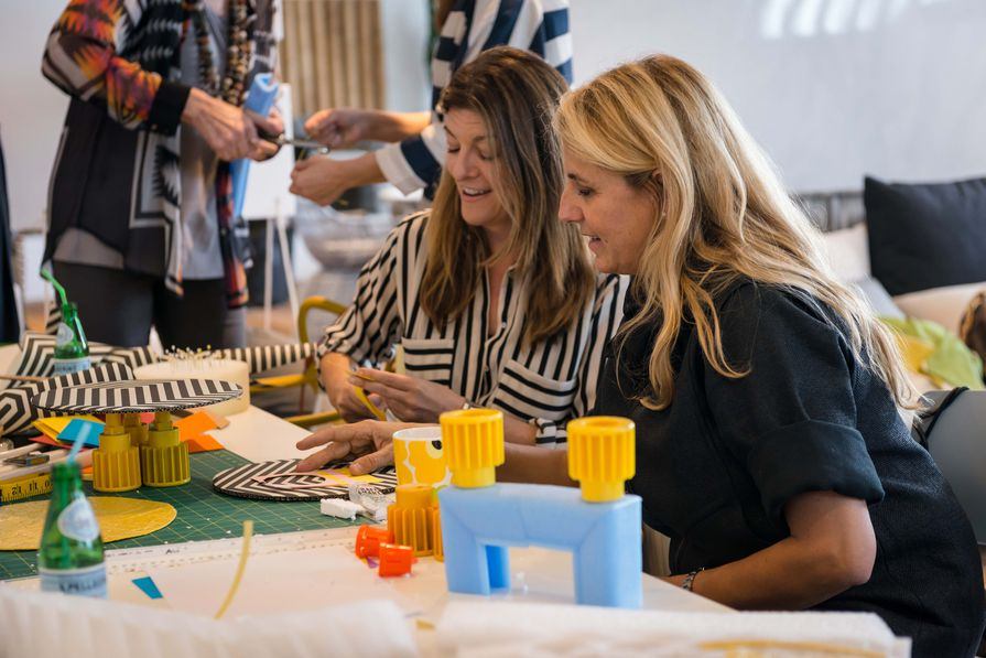 Patricia Urquiola (right) giving a design masterclass at Space Furniture, Sydney.