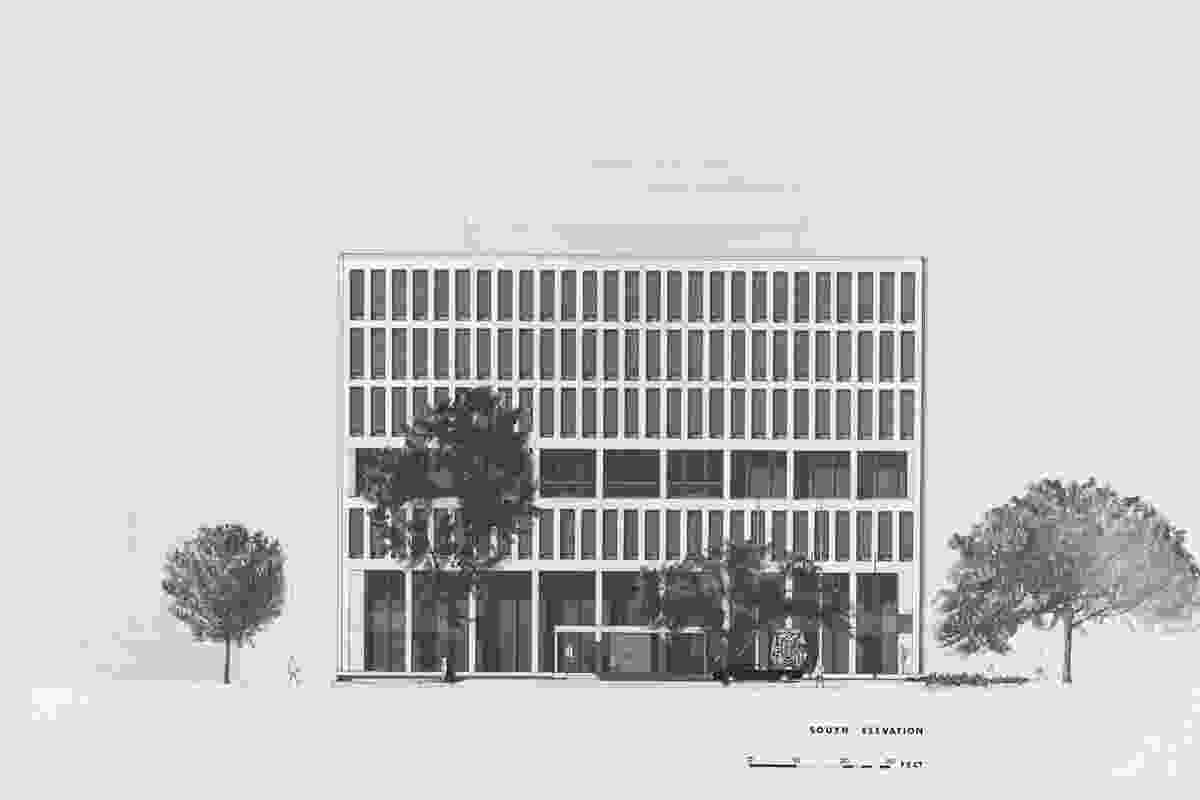 A sketch of the south elevation of the existing Australian embassy building in Washington DC designed by Bates, Smart and McCutcheon in 1964.