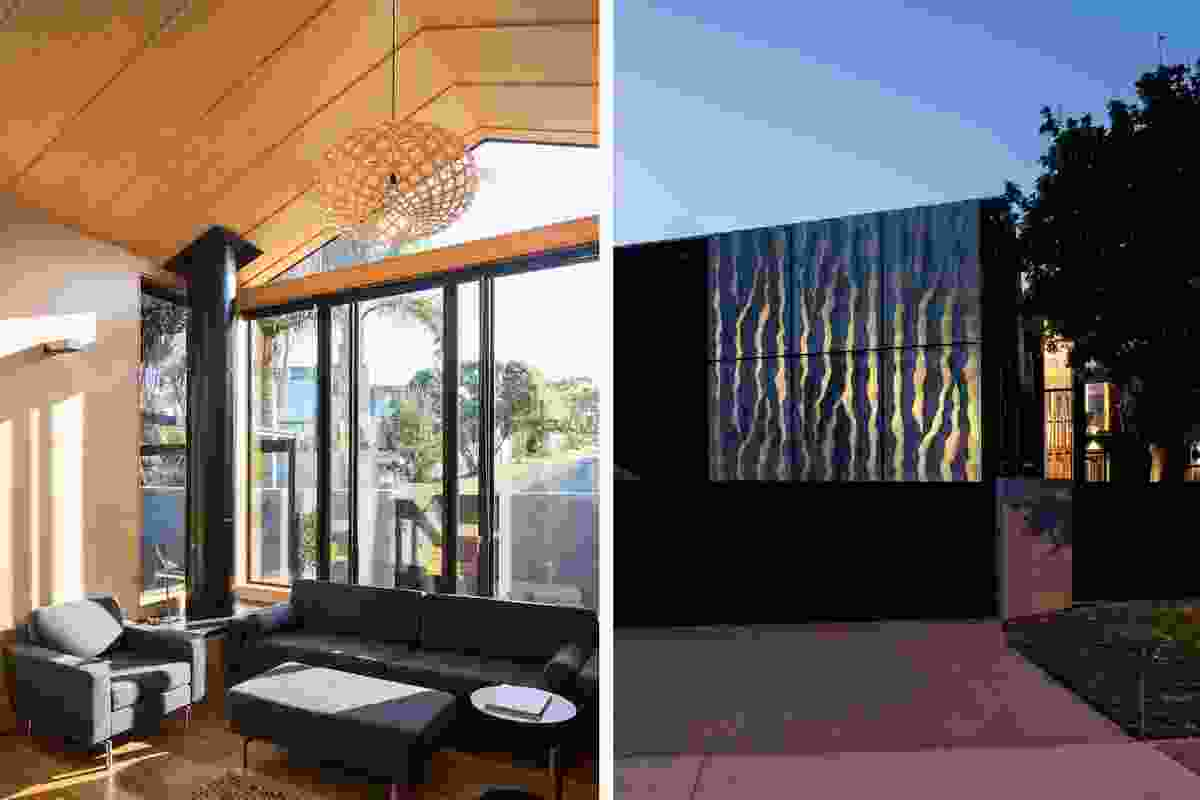 The house is clad with black-stained vertical cedar and inside, plywood lines the walls and the ceilings.