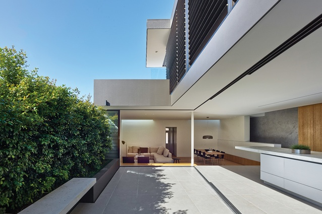 The lean raw concrete components of earlier projects were refined in the Birchgrove House.