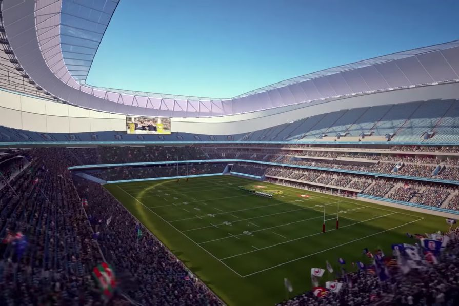 A screenshot of the proposed stadium at Moore Park from the NSW government's stadia announcement.