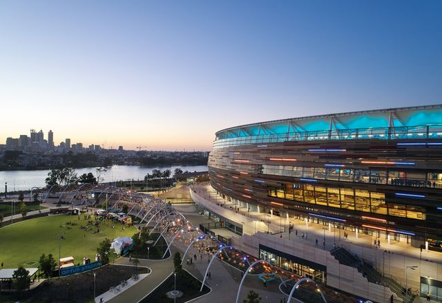 Optus Stadium's bronze facade references Western Australia's unique geology.