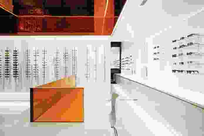 Glasses are displayed on a white background to create an art gallery-style interior.
