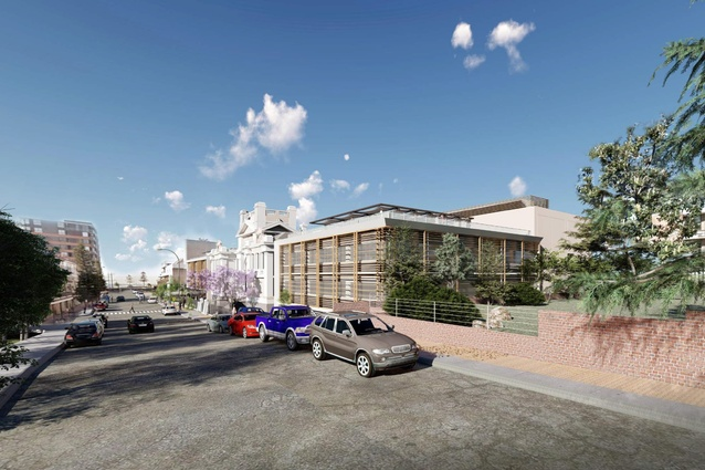 The proposed eastern building will house education facilities.