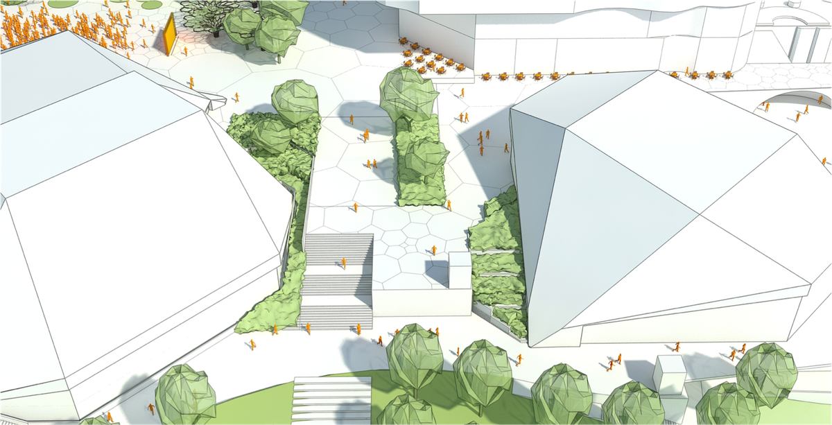 The proposed new Dunstan Plaza between the Adelaide Festival Centre and Dunstan Playhouse.