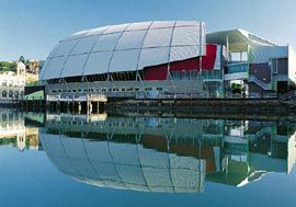 Looking across Ross Creek to Townsville's Museum of Tropical Queensland.