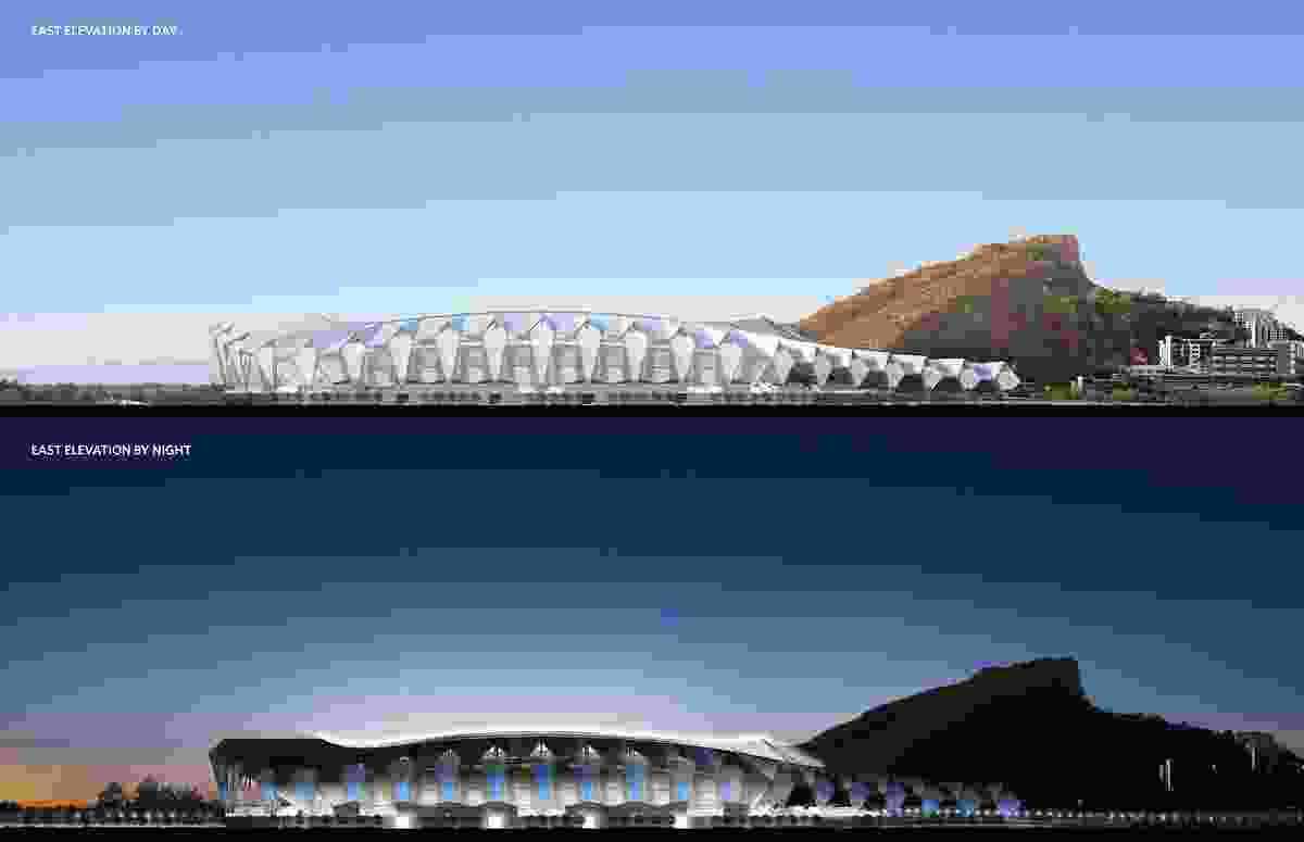 An elevation of the proposed North Queensland Stadium designed by Cox Architecture and 9Point9 Architects.