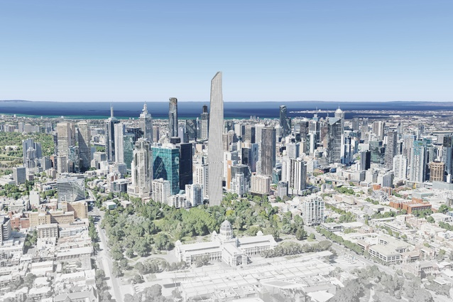 The proposed Magic Tower by Decibel Architecture is located to the south of the Royal Exhibition Building and Carlton Gardens.