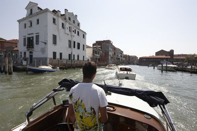 Cruising the Grand Canal in Venice.