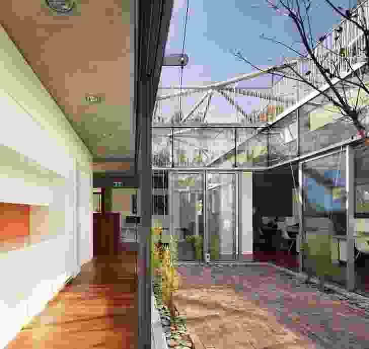 The program pivots around a central courtyard.