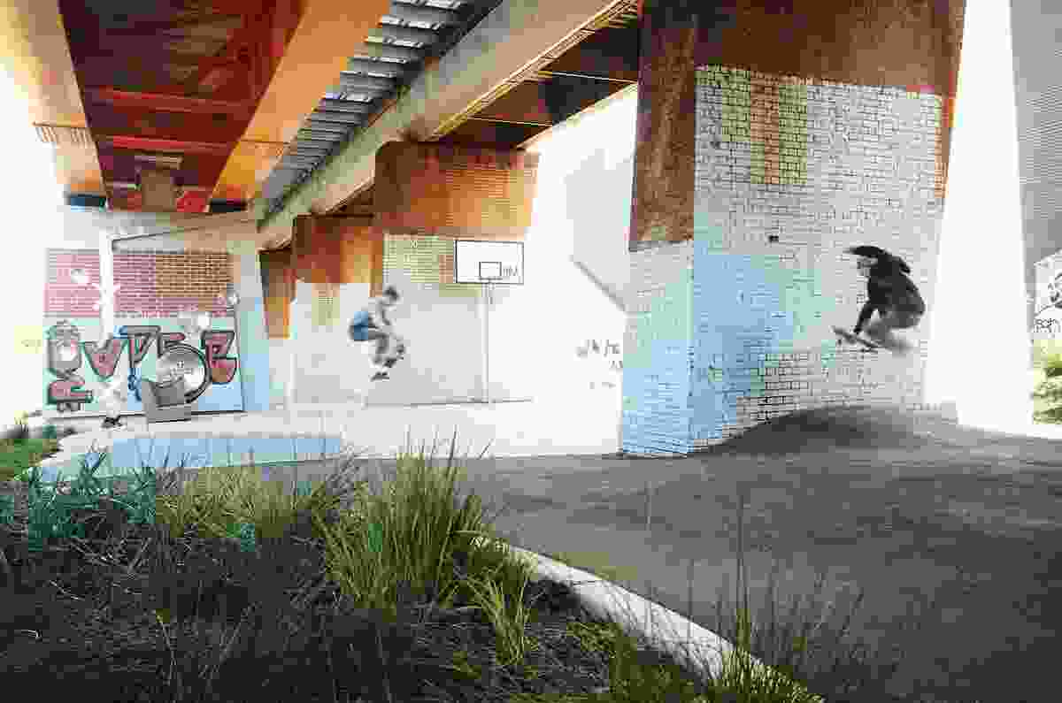 Bridge Park, situated under the railway bridge, includes a basketball court, hang out rocks and mounded asphalt for skateboarders.
