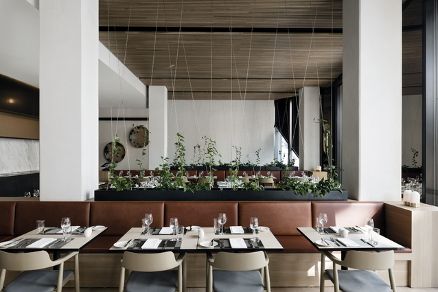 The casual dining space offers rich leather seating in chestnut-brown tones, light oak timber highlights, black metal and climbing greenery.