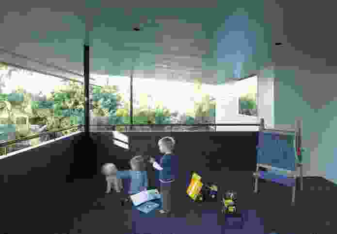 An upper-level deck contained within the generous roof overhang forms an all-weather playroom.