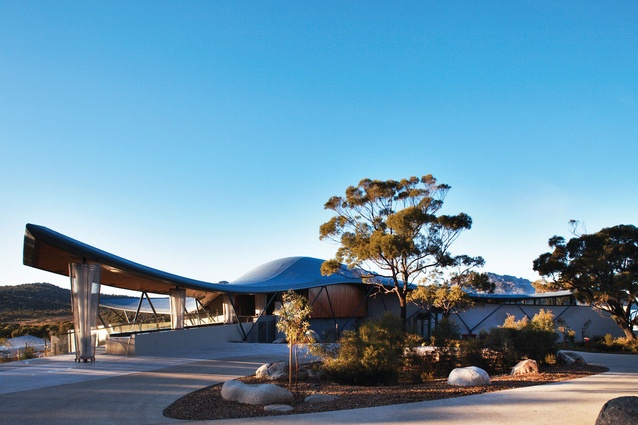 Circa Architecture designed the lodge entry  around important pockets of native vegetation.