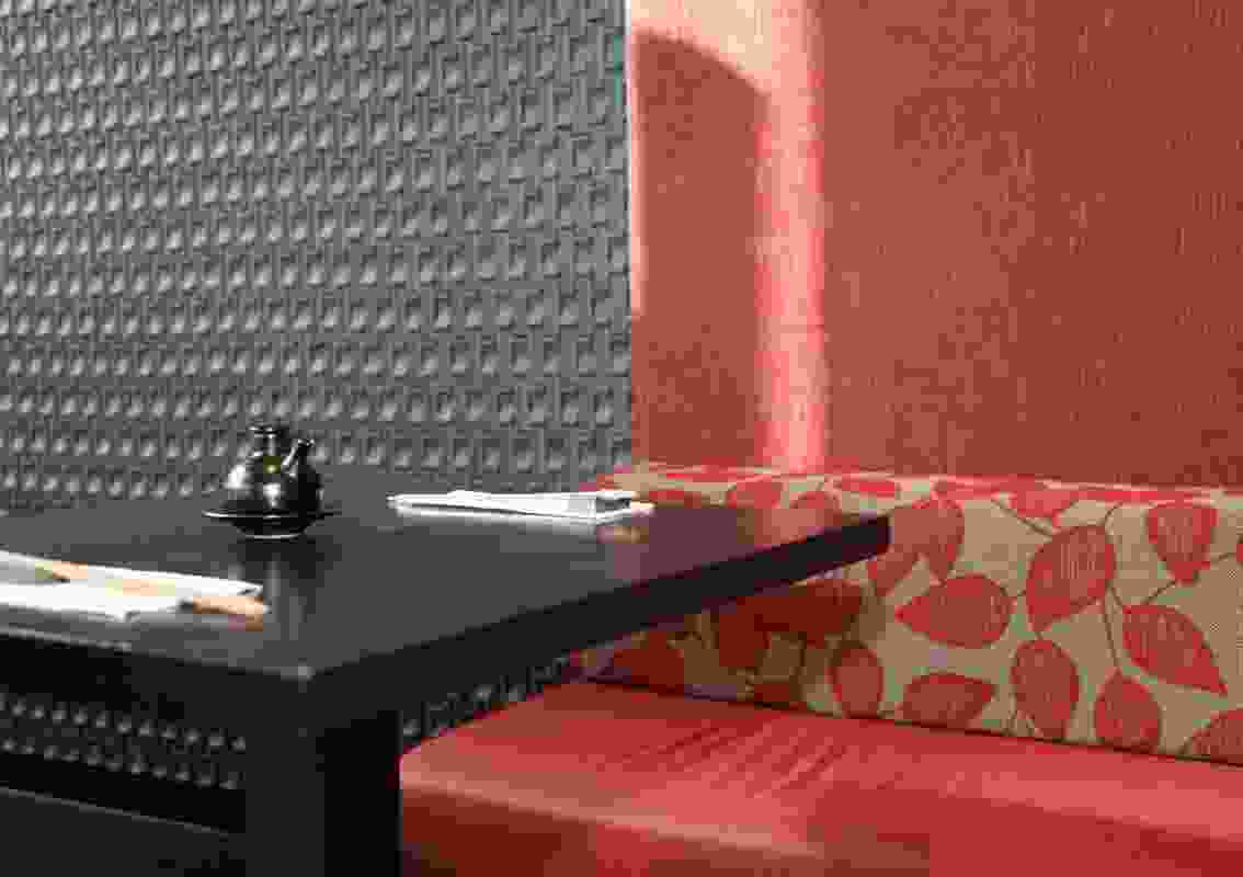 A detail of the feature wall showing the Inax Crochet tile.