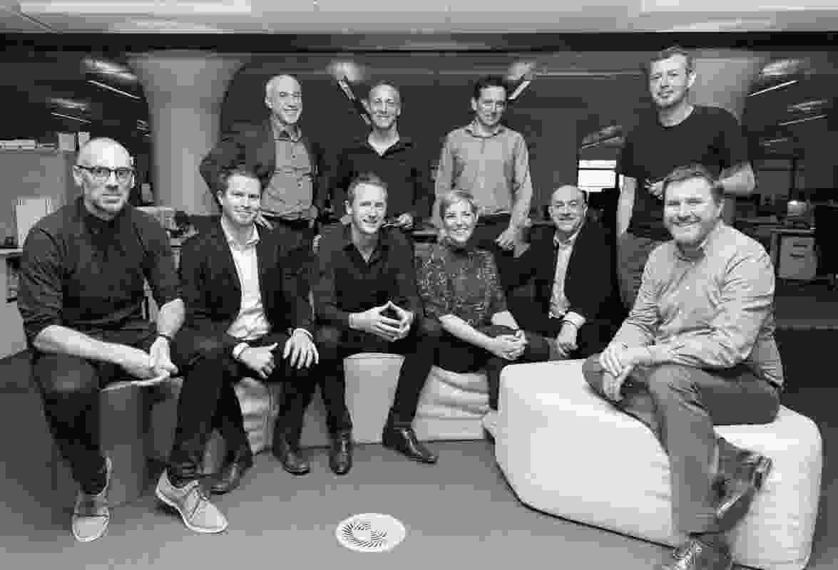 L-R: Niall Durney (Crone), John Prentice (Woods Bagot), Shaun Carter (Carter Williamson), Brian Clohessy (BVN), Philip Vivian (Bates Smart), Dr Jess Murphy, John Pradel (SJB), Gerard Corcoran (HASSELL), Joe Agius (COX), Troy Uleman (PTW).
