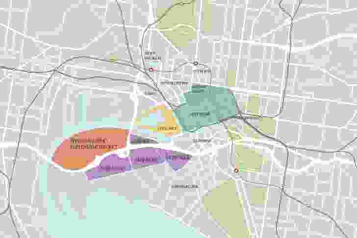 Overall map of the development of Fishermans Bend.