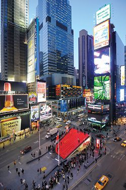 N°2 Aerial view of Times Square. The ticket booth is housed underneath the translucent tiered steps.