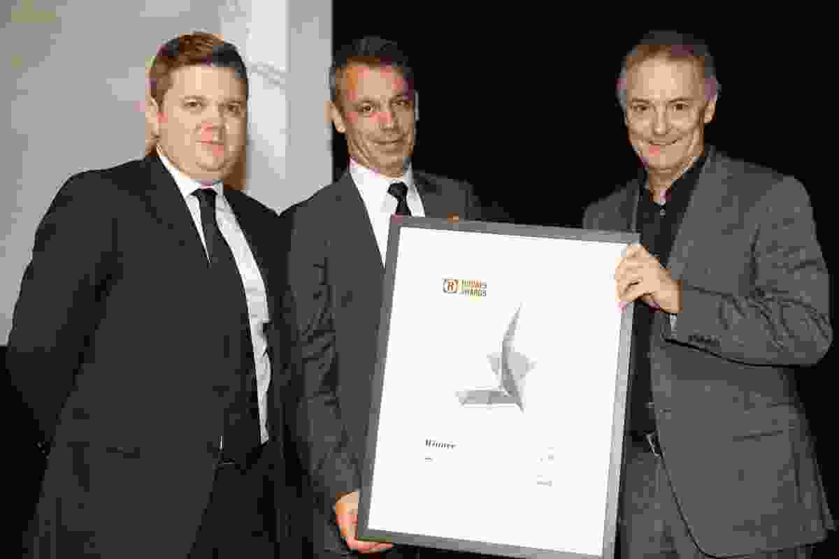 Australian House of the year winner, architect John Wardle (right) with Richard Munao (centre) managing director of award sponsor Cult, and Architecture Media's Cameron Bruhn (left).