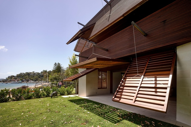 Operable Facade Pittwater by Andrew Burges Architects.