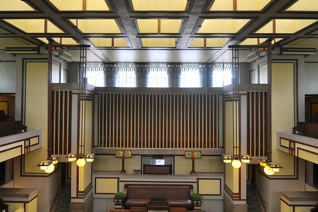 Inside Frank Lloyd Wright's 1909 masterpiece, the Unity Temple in Oak Park, Illinois.