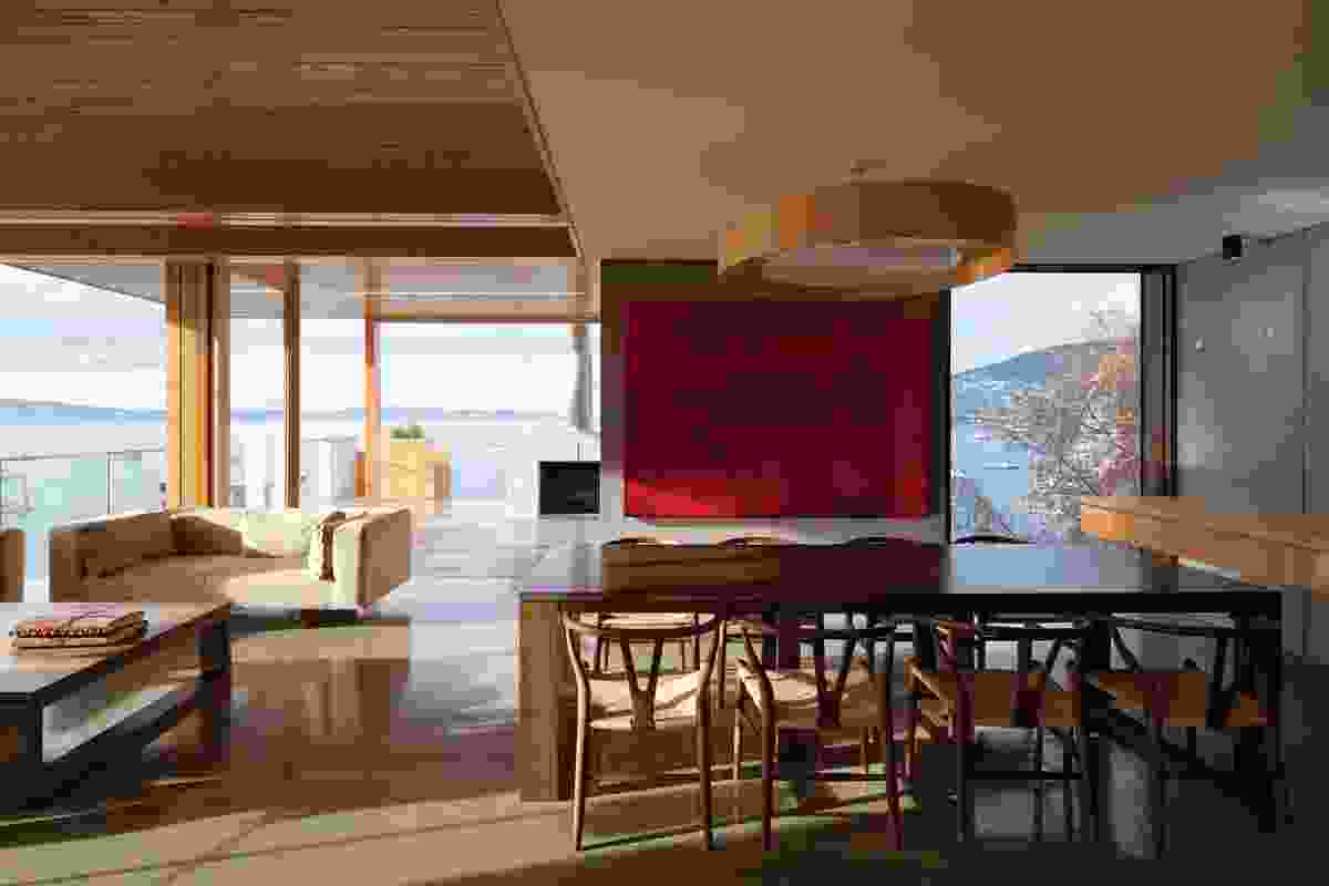 The living area connects to the outdoors. Artwork: Adriana Rosso, Rojo.