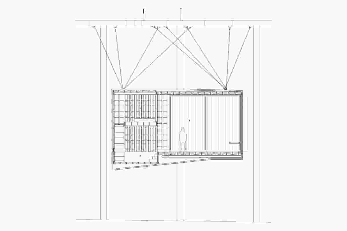 Section A: Suspended writer's cabin design by Nobbs Radford Architects.