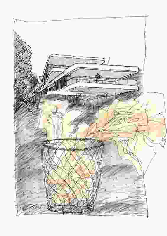 A conceptual sketch of a sculpture by Luigi Rosselli, comprising a waste basket filled with beautiful sketches of unrealized projects.