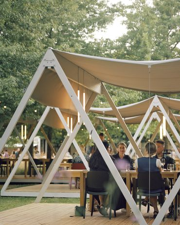 Temporary picnic and dining pavilions designed by Board Grove Architects at the National Gallery of Victoria.