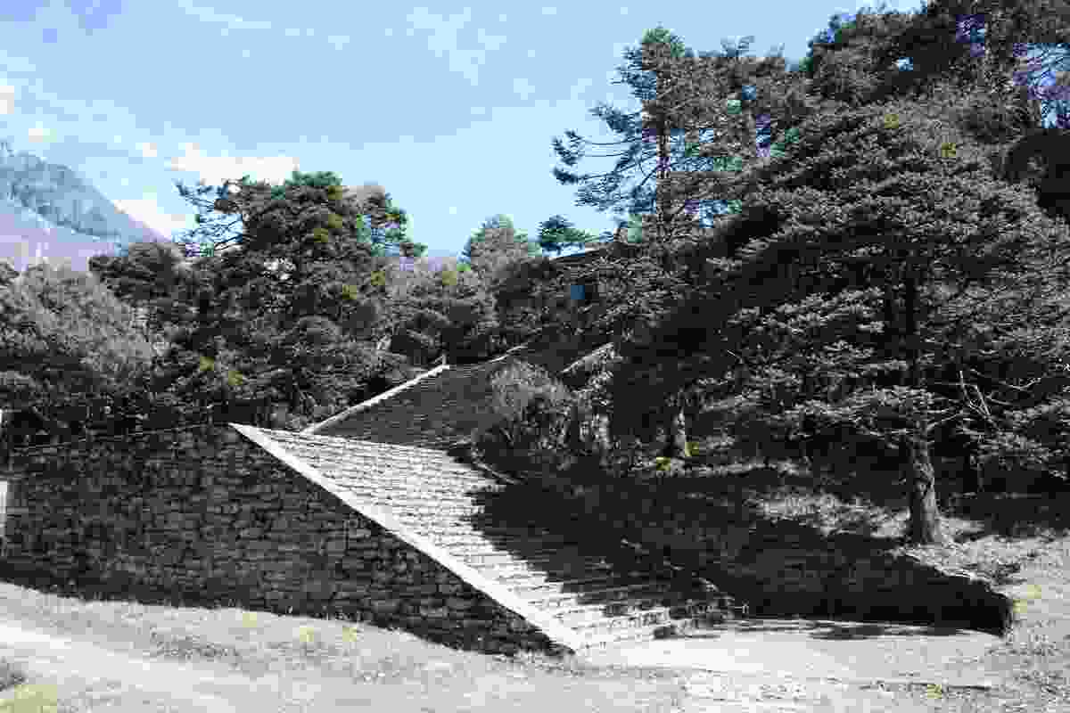 An Inca-like stone staircase leads to the Hotel Everest View.