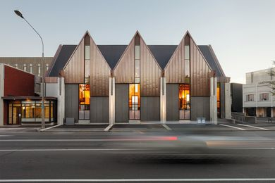 Wilkie + Bruce Architects has created a modern and lightweight interpretation of the church's original exterior with its distinctive peaked roofline.