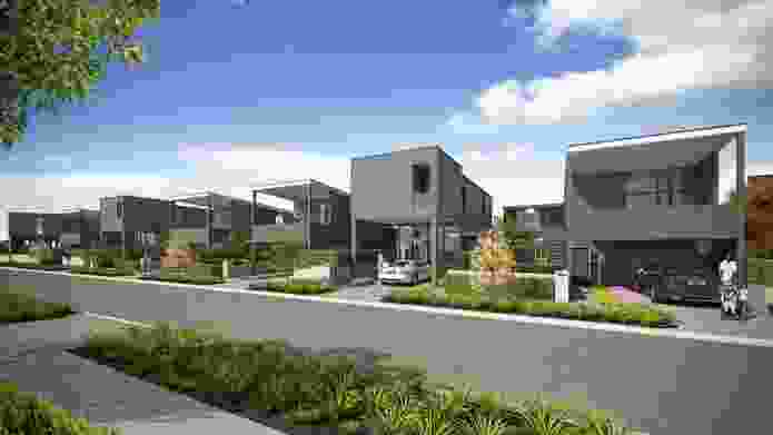 A series of two-storey townhouses, designed by Architecture Workshop for builder Universal Homes as a model for increased density in the new suburb of Hobsonville, Auckland.