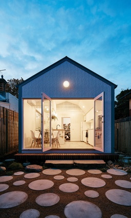 Designer Pia Ednie-Brown of Onomatopoeia named this modest terrace house in a northern suburb of Melbourne Avery Green.