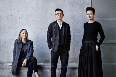 Creative directors for Australia's exhibition at the 2018 Venice Architecture Biennale. L–R: Linda Tegg, Mauro Baracco and Louise Wright.