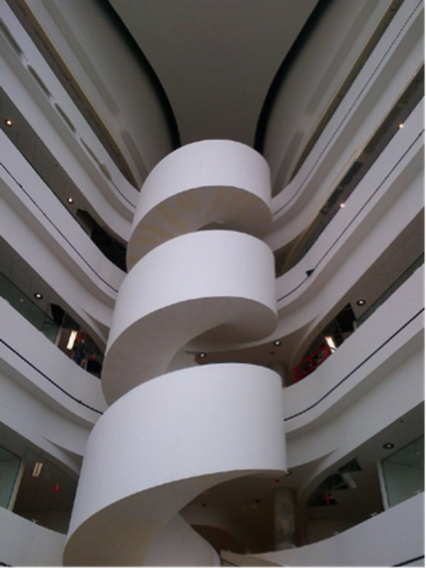 The spiral stair connecting levels in the atria.