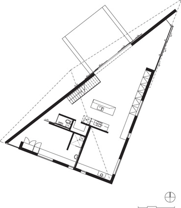 The triangulated plan of Big Hill by Kerstin Thompson Architects.