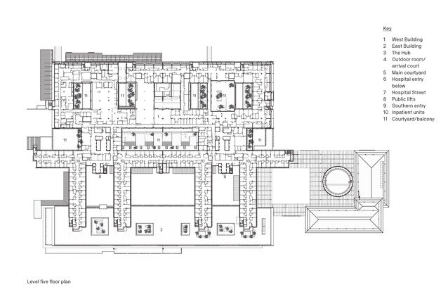 Level five floor plan of Sunshine Coast University Hospital by Architectus and HDR.